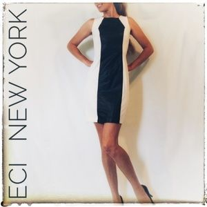 Modern Eci Black Leather and White Mini Dress